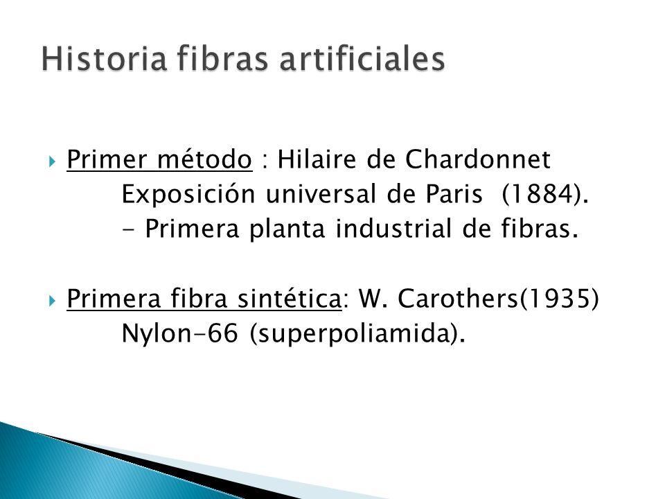 Primer método : Hilaire de Chardonnet Exposición universal de Paris (1884). - Primera planta industrial de fibras. Primera fibra sintética: W. Carothe