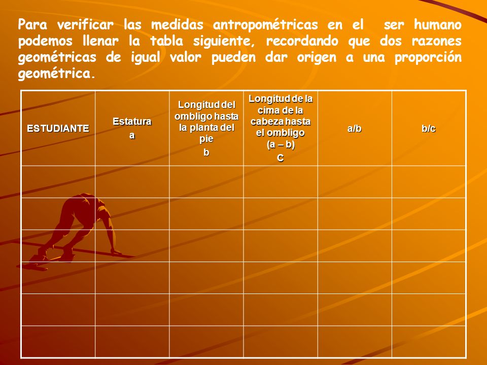 Para verificar las medidas antropométricas en el ser humano podemos llenar la tabla siguiente, recordando que dos razones geométricas de igual valor p