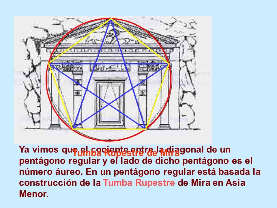 Ya vimos que el cociente entre la diagonal de un pentágono regular y el lado de dicho pentágono es el número áureo. En un pentágono regular está basad