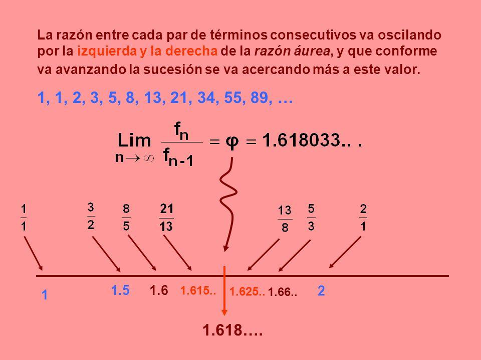 La razón entre cada par de términos consecutivos va oscilando por la izquierda y la derecha de la razón áurea, y que conforme va avanzando la sucesión