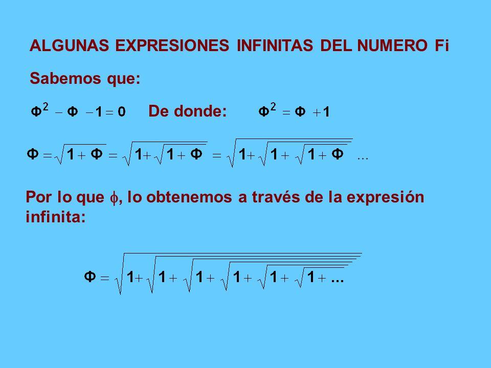 ALGUNAS EXPRESIONES INFINITAS DEL NUMERO Fi Sabemos que: De donde: Por lo que, lo obtenemos a través de la expresión infinita: