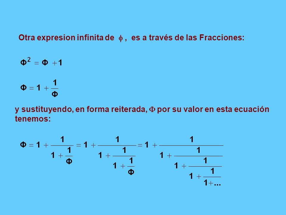 y sustituyendo, en forma reiterada, por su valor en esta ecuación tenemos: Otra expresion infinita de, es a través de las Fracciones: