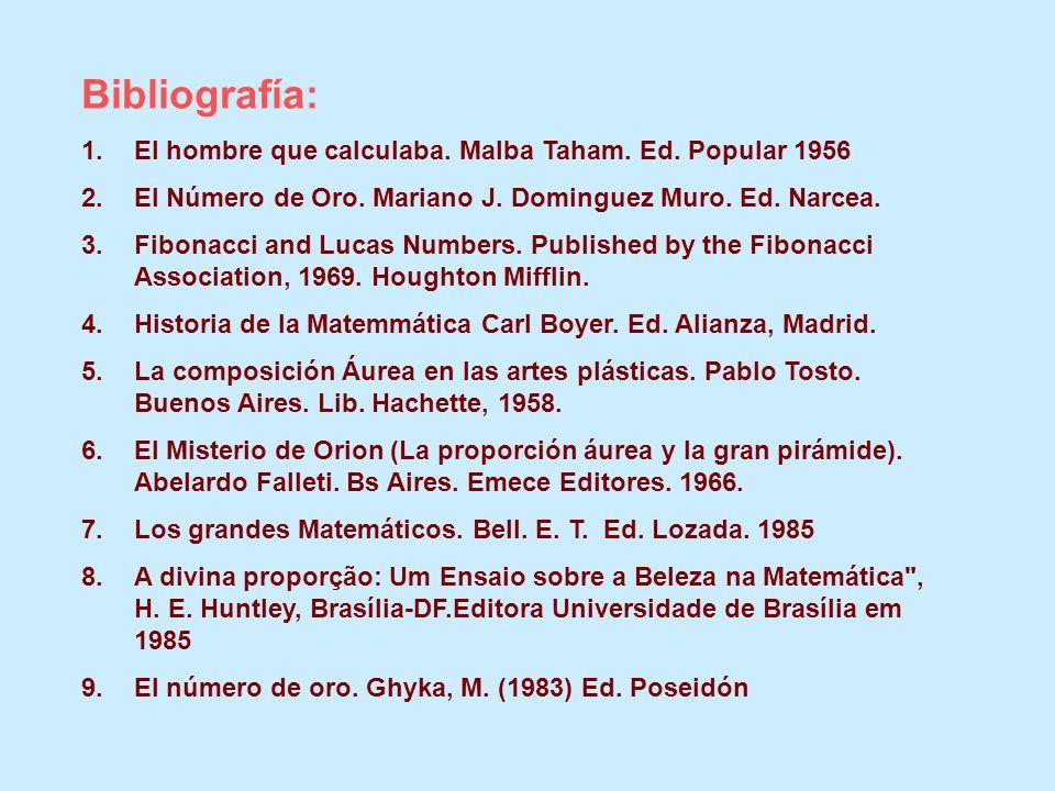 Bibliografía: 1.El hombre que calculaba. Malba Taham. Ed. Popular 1956 2.El Número de Oro. Mariano J. Dominguez Muro. Ed. Narcea. 3.Fibonacci and Luca