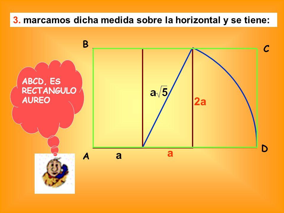 3. marcamos dicha medida sobre la horizontal y se tiene: a a 2a A B C D ABCD, ES RECTANGULO AUREO