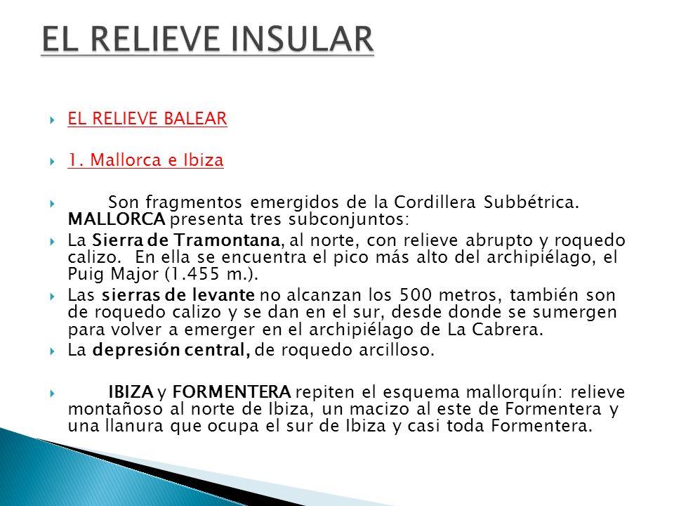 EL RELIEVE BALEAR 1. Mallorca e Ibiza Son fragmentos emergidos de la Cordillera Subbétrica. MALLORCA presenta tres subconjuntos: La Sierra de Tramonta