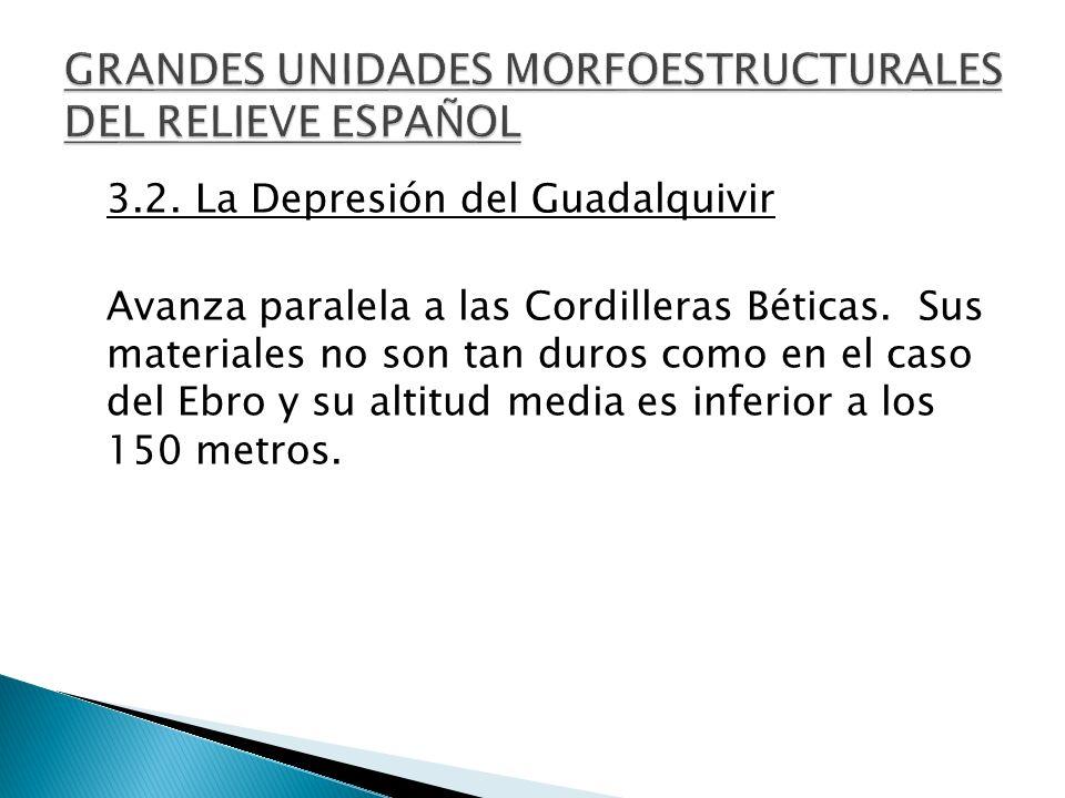 3.2. La Depresión del Guadalquivir Avanza paralela a las Cordilleras Béticas. Sus materiales no son tan duros como en el caso del Ebro y su altitud me