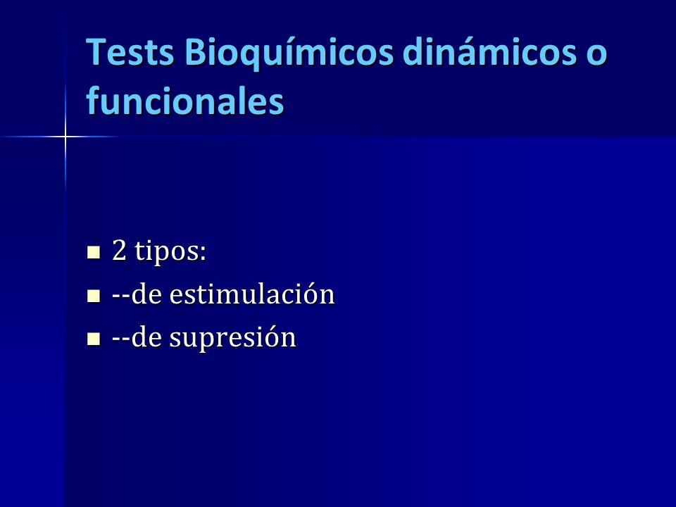 Tests Bioquímicos dinámicos o funcionales 2 tipos: 2 tipos: --de estimulación --de estimulación --de supresión --de supresión