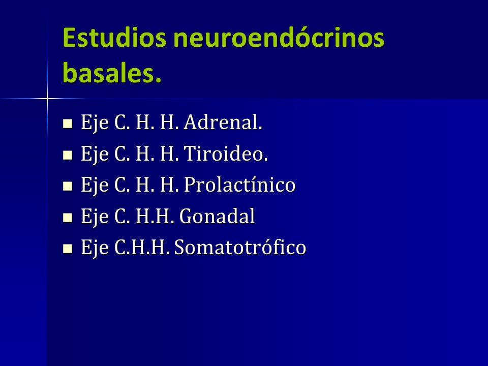 Estudios neuroendócrinos basales. Eje C. H. H. Adrenal. Eje C. H. H. Adrenal. Eje C. H. H. Tiroideo. Eje C. H. H. Tiroideo. Eje C. H. H. Prolactínico