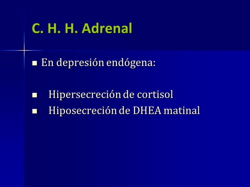 C. H. H. Adrenal En depresión endógena: En depresión endógena: Hipersecreción de cortisol Hipersecreción de cortisol Hiposecreción de DHEA matinal Hip