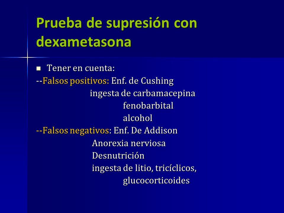 Prueba de supresión con dexametasona Tener en cuenta: Tener en cuenta: --Falsos positivos: Enf. de Cushing ingesta de carbamacepina ingesta de carbama