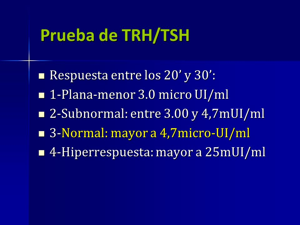 Prueba de TRH/TSH Respuesta entre los 20 y 30: Respuesta entre los 20 y 30: 1-Plana-menor 3.0 micro UI/ml 1-Plana-menor 3.0 micro UI/ml 2-Subnormal: e