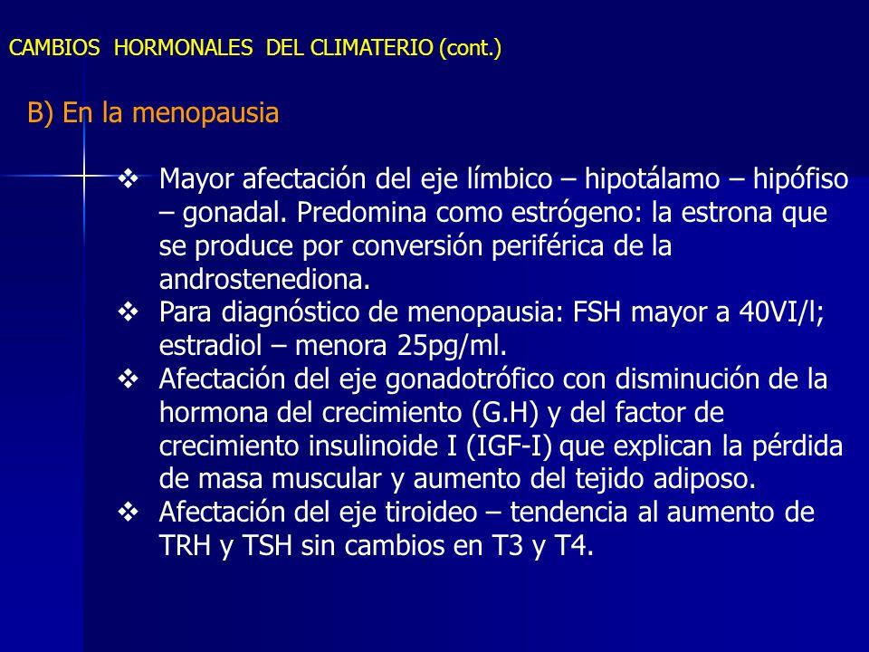 CAMBIOS HORMONALES DEL CLIMATERIO (cont.) B) En la menopausia Mayor afectación del eje límbico – hipotálamo – hipófiso – gonadal. Predomina como estró