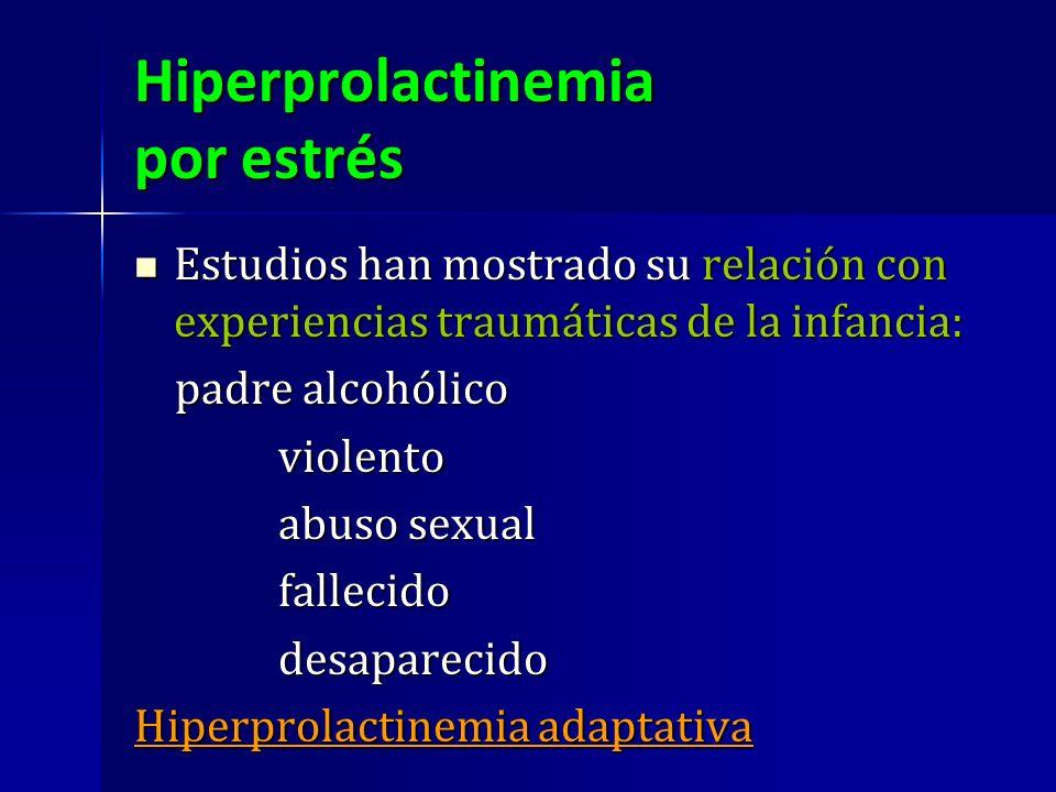 Hiperprolactinemia por estrés Estudios han mostrado su relación con experiencias traumáticas de la infancia: Estudios han mostrado su relación con exp