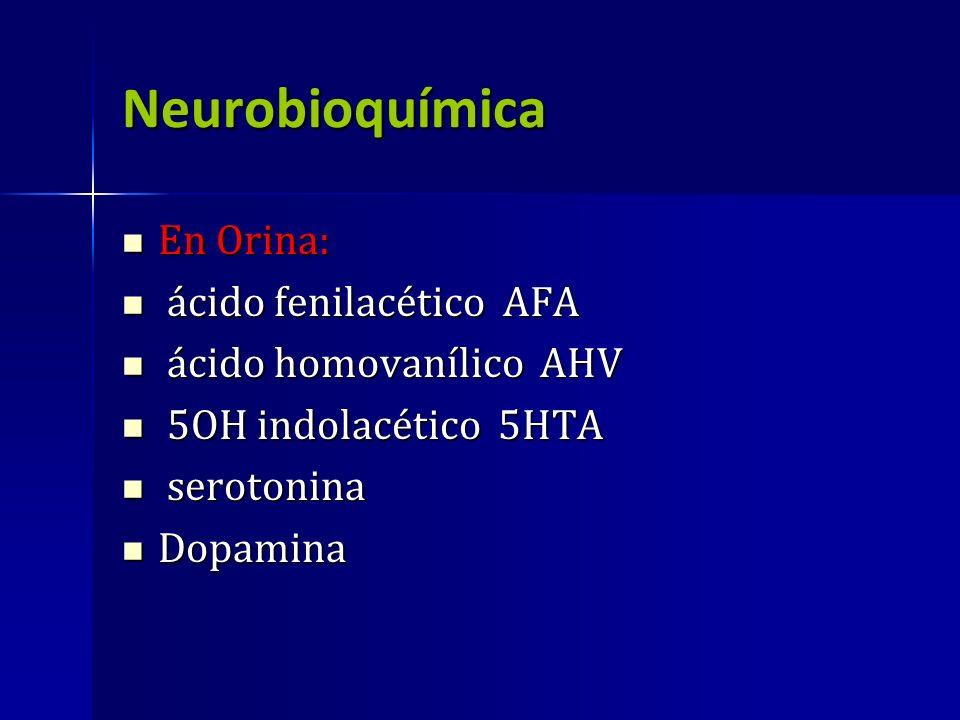 Neurobioquímica En Orina: En Orina: ácido fenilacético AFA ácido fenilacético AFA ácido homovanílico AHV ácido homovanílico AHV 5OH indolacético 5HTA