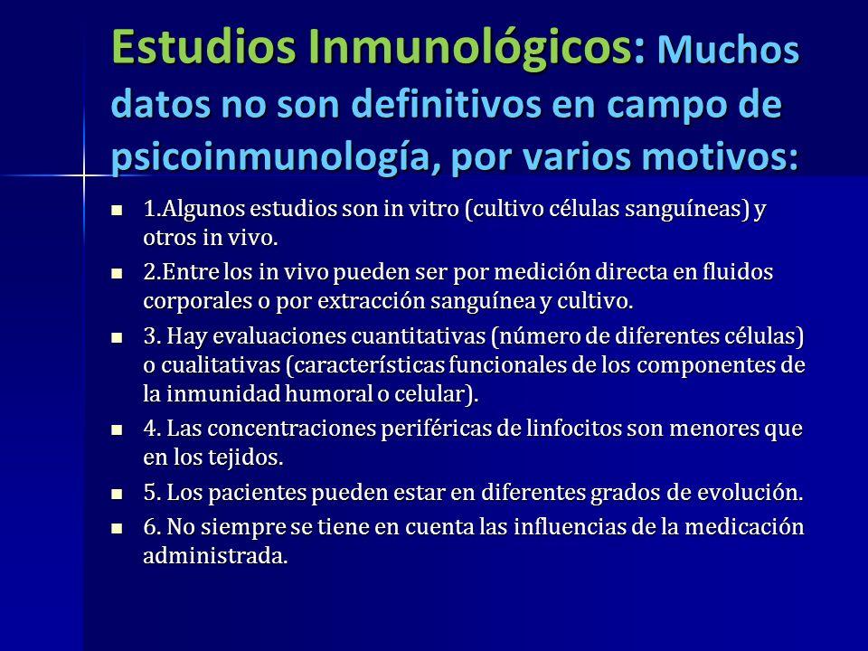 Estudios Inmunológicos: Muchos datos no son definitivos en campo de psicoinmunología, por varios motivos: 1.Algunos estudios son in vitro (cultivo cél