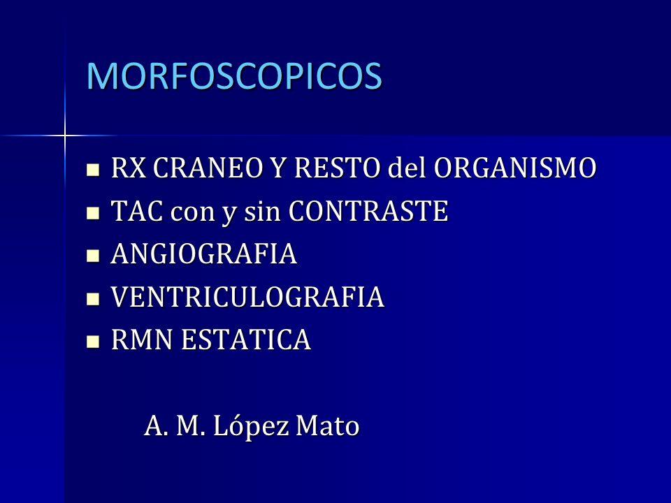 MORFOSCOPICOS RX CRANEO Y RESTO del ORGANISMO RX CRANEO Y RESTO del ORGANISMO TAC con y sin CONTRASTE TAC con y sin CONTRASTE ANGIOGRAFIA ANGIOGRAFIA