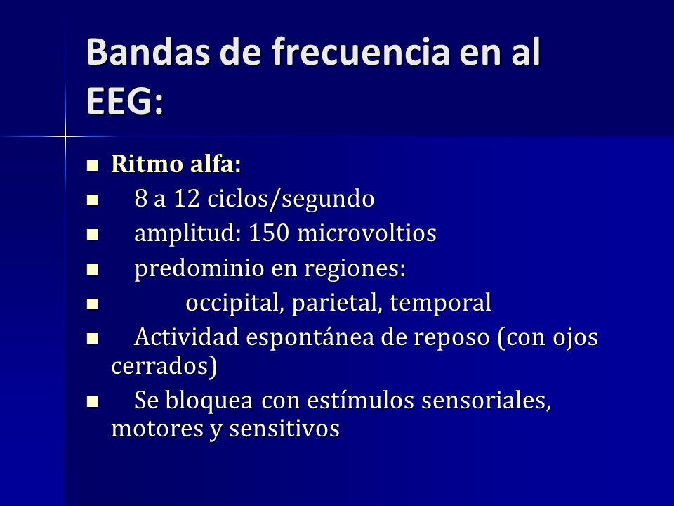 Bandas de frecuencia en al EEG: Ritmo alfa: Ritmo alfa: 8 a 12 ciclos/segundo 8 a 12 ciclos/segundo amplitud: 150 microvoltios amplitud: 150 microvolt