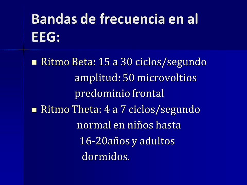 Bandas de frecuencia en al EEG: Ritmo Beta: 15 a 30 ciclos/segundo Ritmo Beta: 15 a 30 ciclos/segundo amplitud: 50 microvoltios amplitud: 50 microvolt