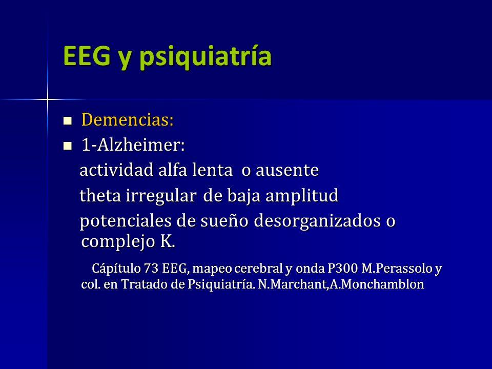 EEG y psiquiatría Demencias: Demencias: 1-Alzheimer: 1-Alzheimer: actividad alfa lenta o ausente actividad alfa lenta o ausente theta irregular de baj