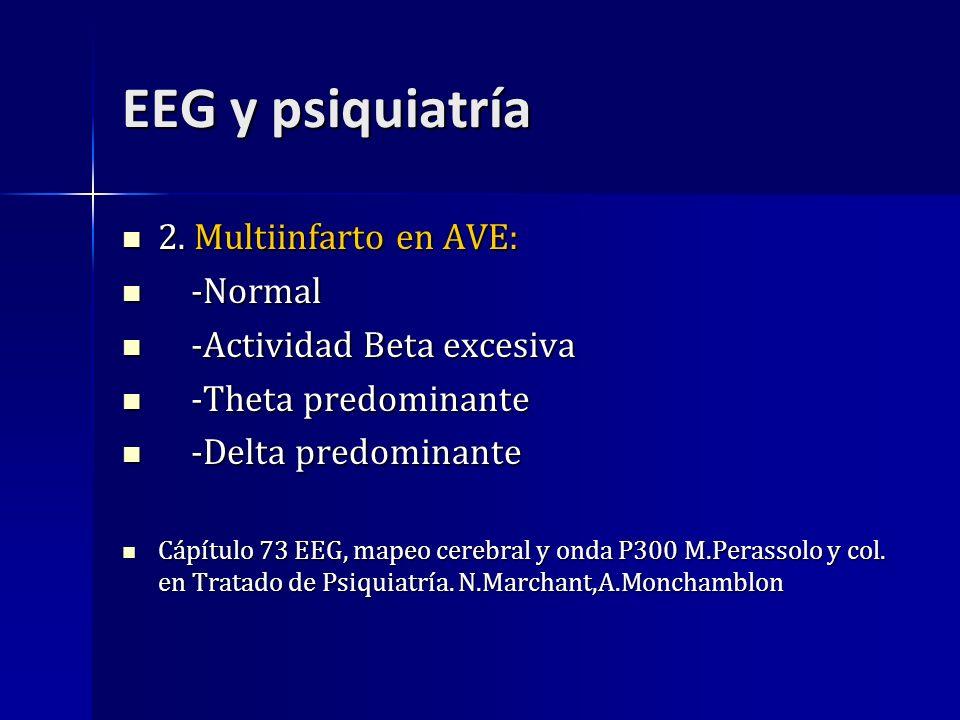 EEG y psiquiatría 2. Multiinfarto en AVE: 2. Multiinfarto en AVE: -Normal -Normal -Actividad Beta excesiva -Actividad Beta excesiva -Theta predominant