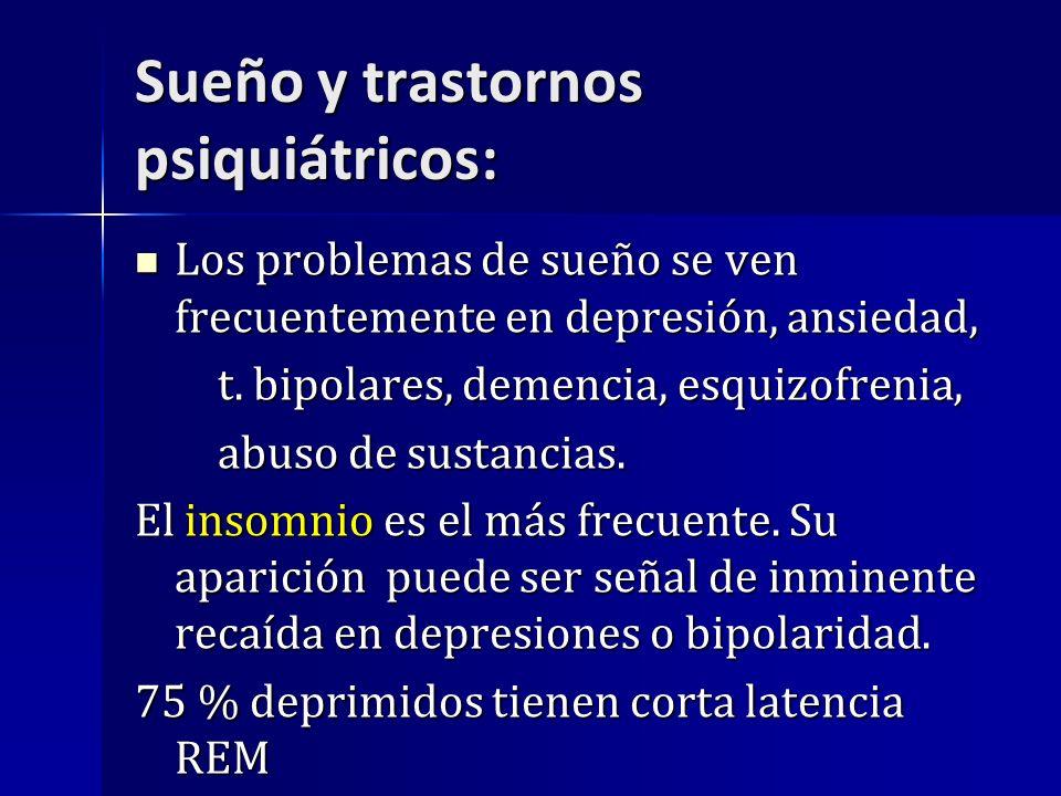 Sueño y trastornos psiquiátricos: Los problemas de sueño se ven frecuentemente en depresión, ansiedad, Los problemas de sueño se ven frecuentemente en