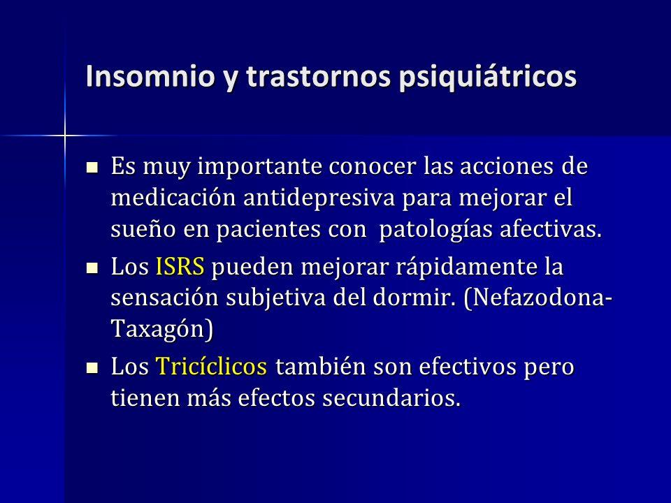 Insomnio y trastornos psiquiátricos Es muy importante conocer las acciones de medicación antidepresiva para mejorar el sueño en pacientes con patologí