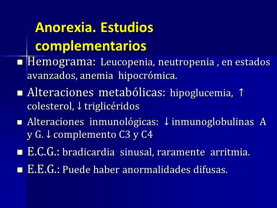 Hemograma: Leucopenia, neutropenia, en estados avanzados, anemia hipocrómica. Hemograma: Leucopenia, neutropenia, en estados avanzados, anemia hipocró