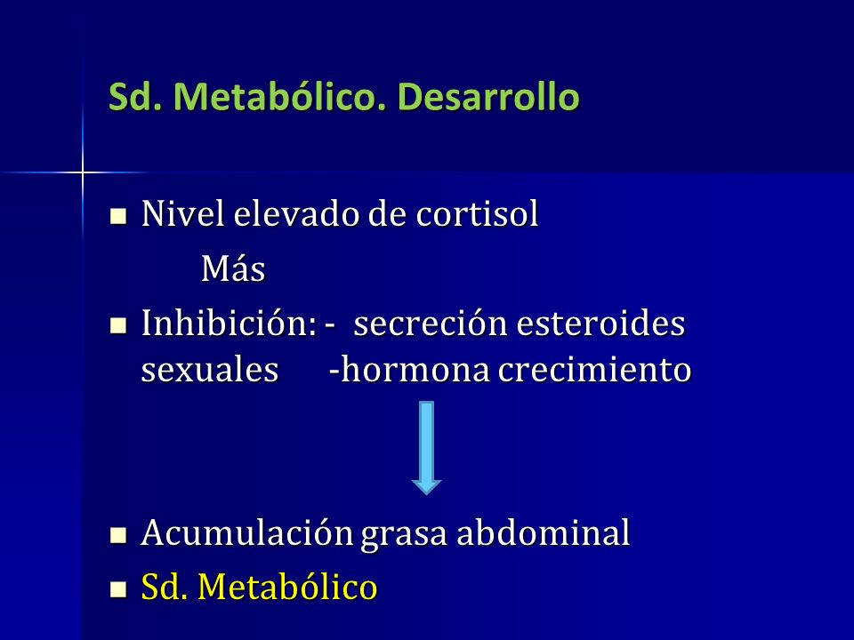 Sd. Metabólico. Desarrollo Nivel elevado de cortisol Nivel elevado de cortisol Más Más Inhibición: - secreción esteroides sexuales -hormona crecimient