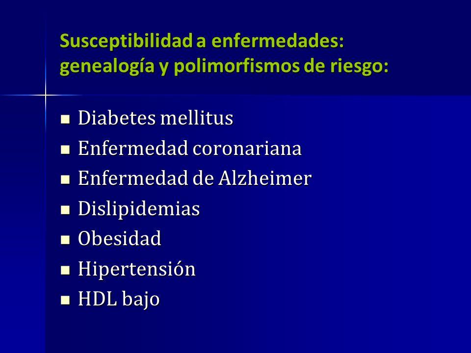 Susceptibilidad a enfermedades: genealogía y polimorfismos de riesgo: Diabetes mellitus Diabetes mellitus Enfermedad coronariana Enfermedad coronarian