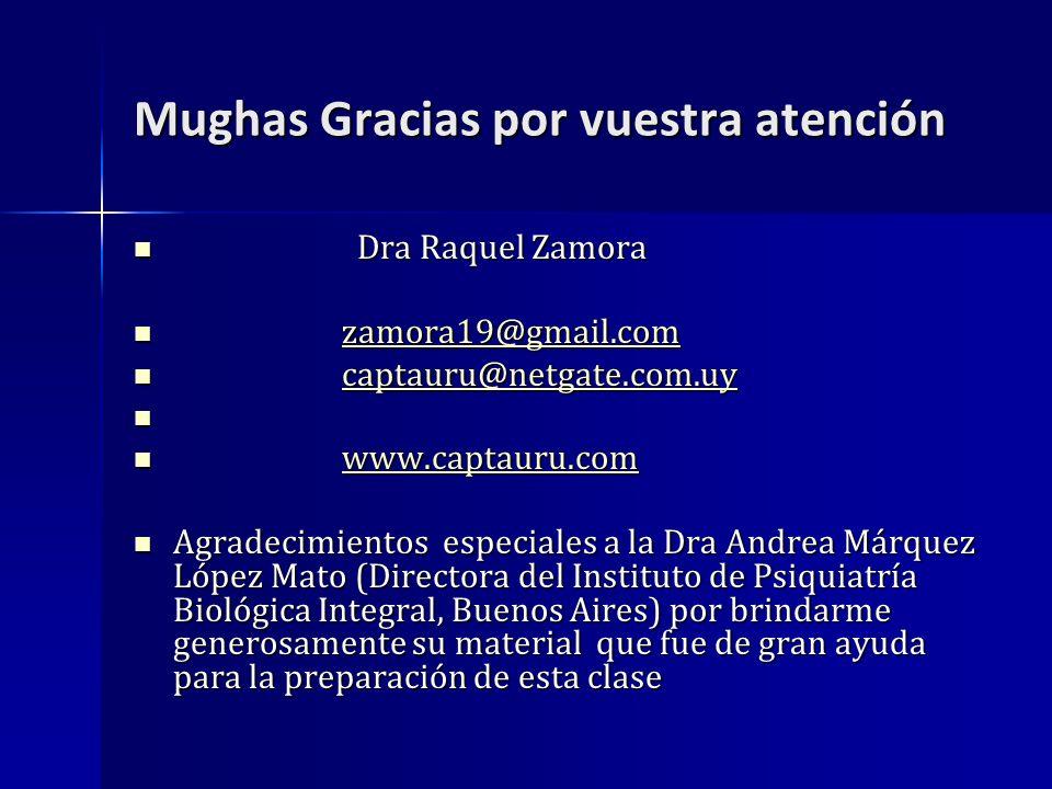 Mughas Gracias por vuestra atención Dra Raquel Zamora Dra Raquel Zamora zamora19@gmail.com zamora19@gmail.comzamora19@gmail.com captauru@netgate.com.u