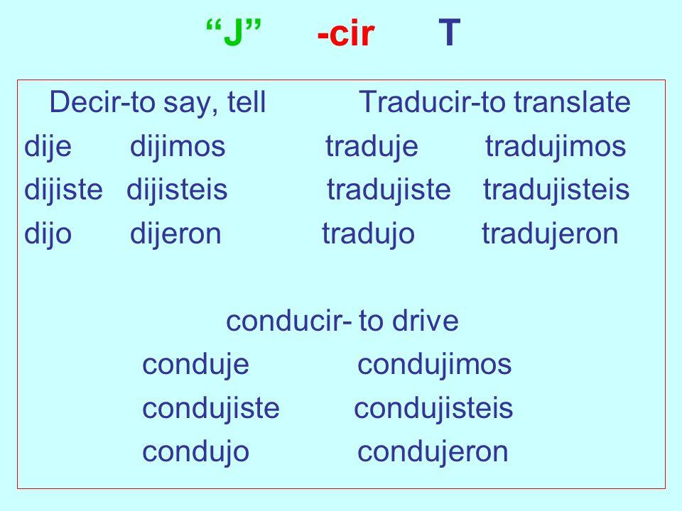 J -cir T Decir-to say, tell Traducir-to translate dije dijimos traduje tradujimos dijiste dijisteis tradujiste tradujisteis dijo dijeron tradujo tradu