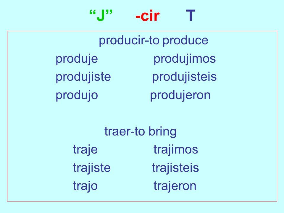 J -cir T producir-to produce produje produjimos produjiste produjisteis produjo produjeron traer-to bring traje trajimos trajiste trajisteis trajo tra
