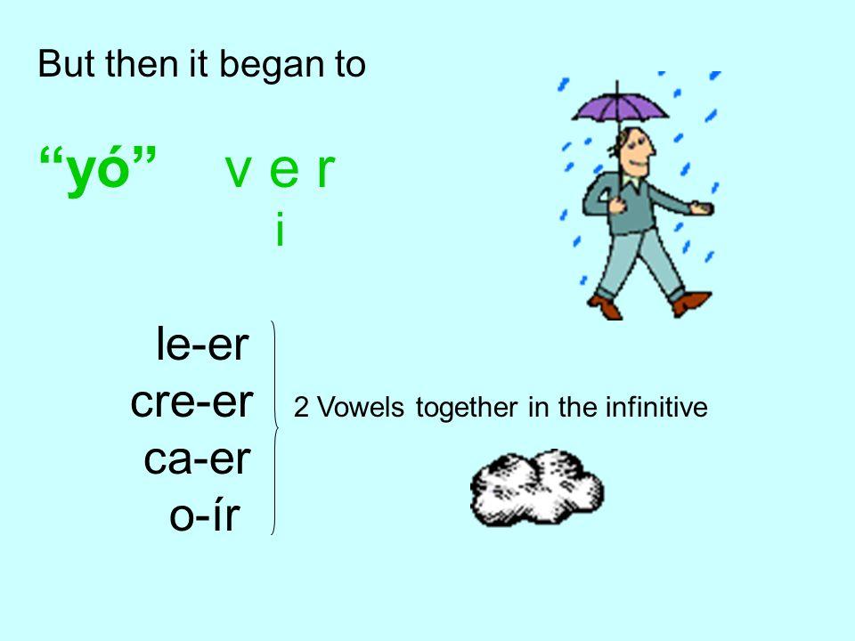 But then it began to yó v e r i le-er cre-er 2 Vowels together in the infinitive ca-er o-ír