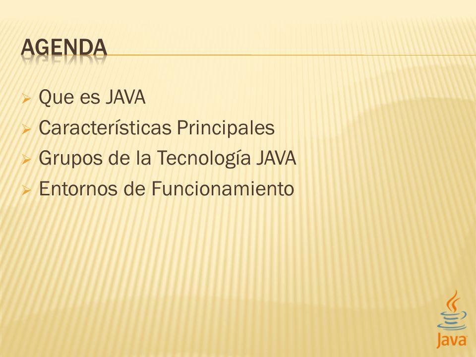 Que es JAVA Características Principales Grupos de la Tecnología JAVA Entornos de Funcionamiento