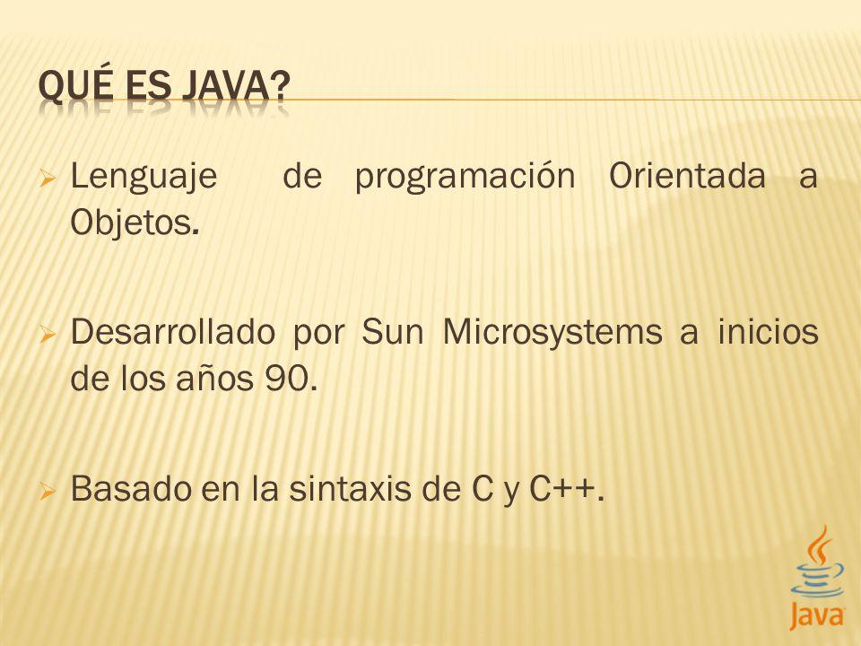 Lenguaje de programación Orientada a Objetos.