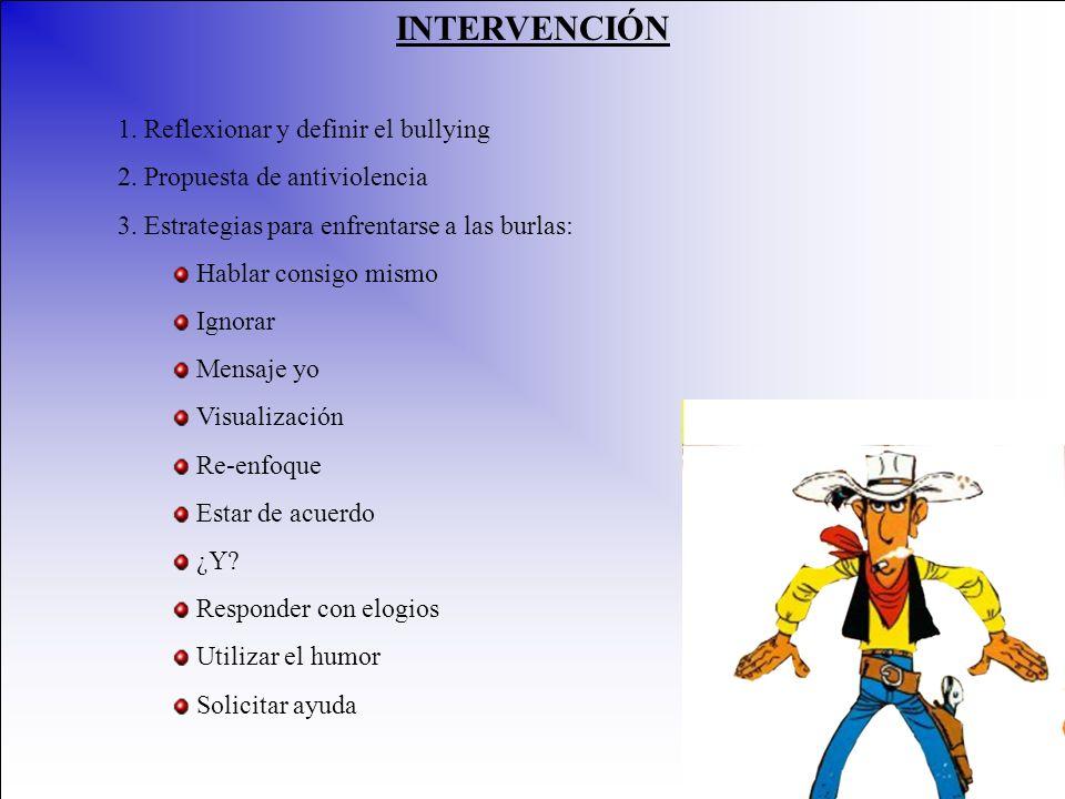 INTERVENCIÓN 1. Reflexionar y definir el bullying 2. Propuesta de antiviolencia 3. Estrategias para enfrentarse a las burlas: Hablar consigo mismo Ign