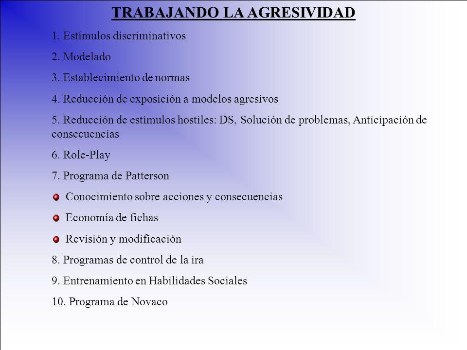 TRABAJANDO LA AGRESIVIDAD 1. Estímulos discriminativos 2. Modelado 3. Establecimiento de normas 4. Reducción de exposición a modelos agresivos 5. Redu