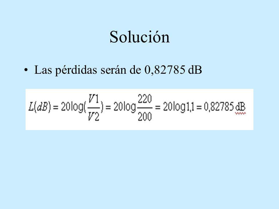 Solución Las pérdidas serán de 0,82785 dB