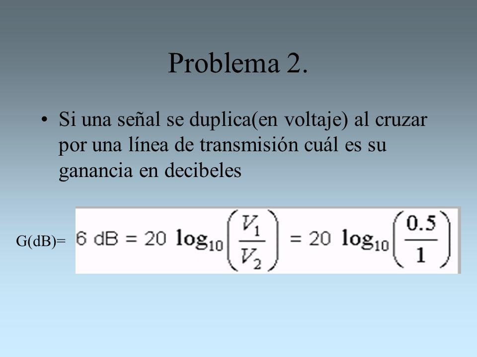 Problema 2. Si una señal se duplica(en voltaje) al cruzar por una línea de transmisión cuál es su ganancia en decibeles G(dB)=