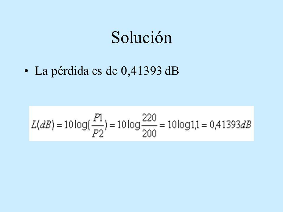 Solución La pérdida es de 0,41393 dB
