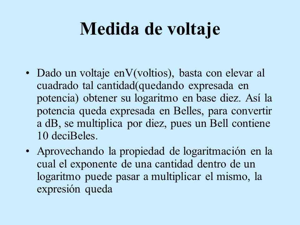 Medida de voltaje Dado un voltaje enV(voltios), basta con elevar al cuadrado tal cantidad(quedando expresada en potencia) obtener su logaritmo en base