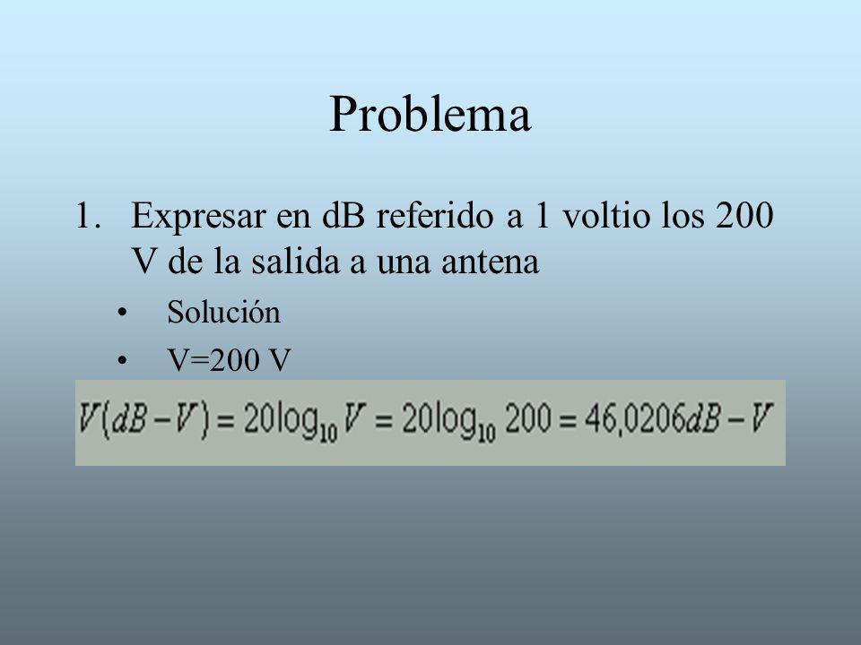 Problema 1.Expresar en dB referido a 1 voltio los 200 V de la salida a una antena Solución V=200 V