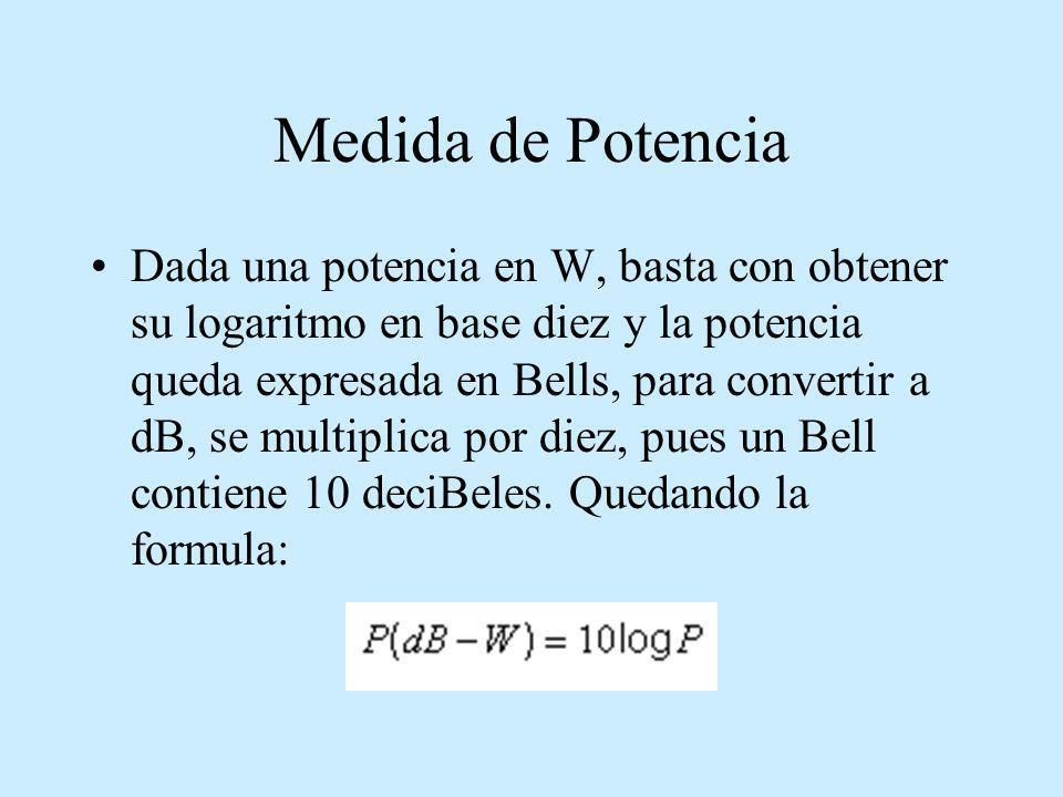 Medida de Potencia Dada una potencia en W, basta con obtener su logaritmo en base diez y la potencia queda expresada en Bells, para convertir a dB, se
