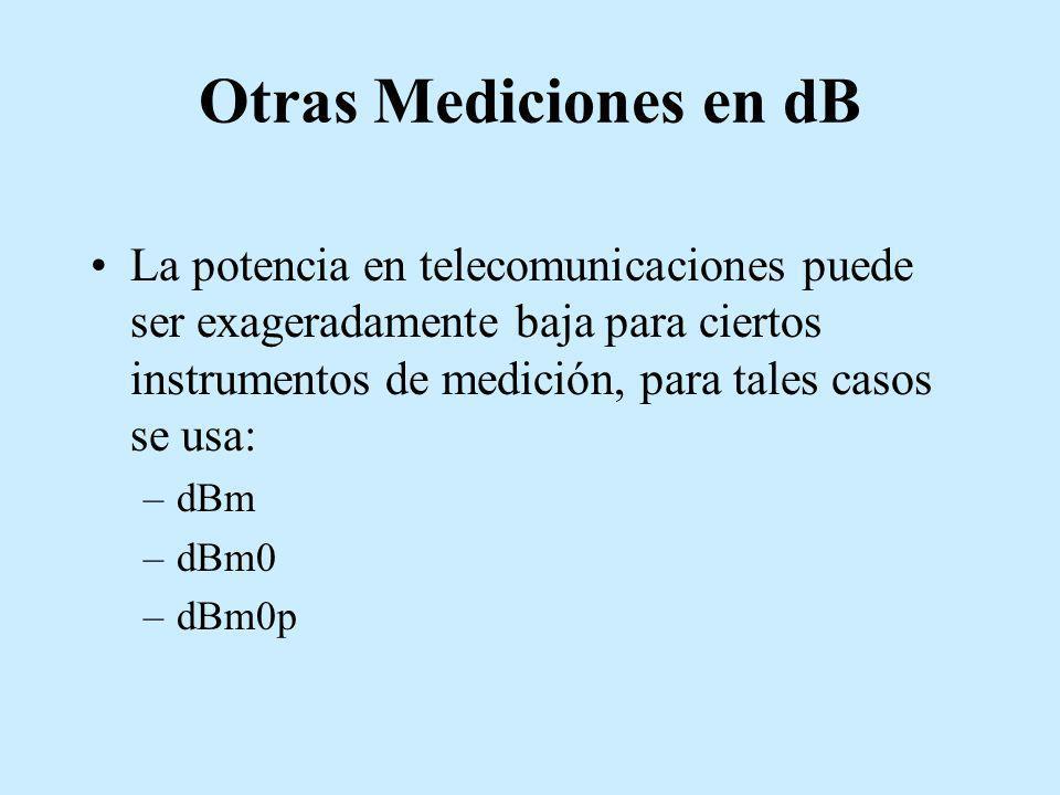 Otras Mediciones en dB La potencia en telecomunicaciones puede ser exageradamente baja para ciertos instrumentos de medición, para tales casos se usa:
