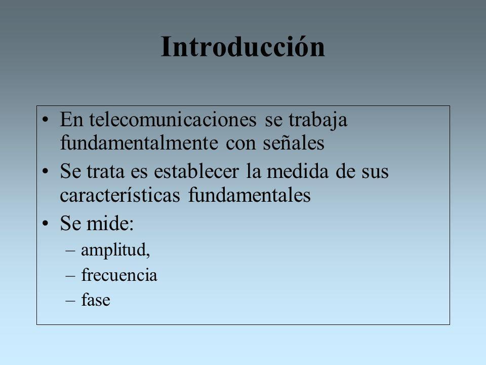 Introducción En telecomunicaciones se trabaja fundamentalmente con señales Se trata es establecer la medida de sus características fundamentales Se mi