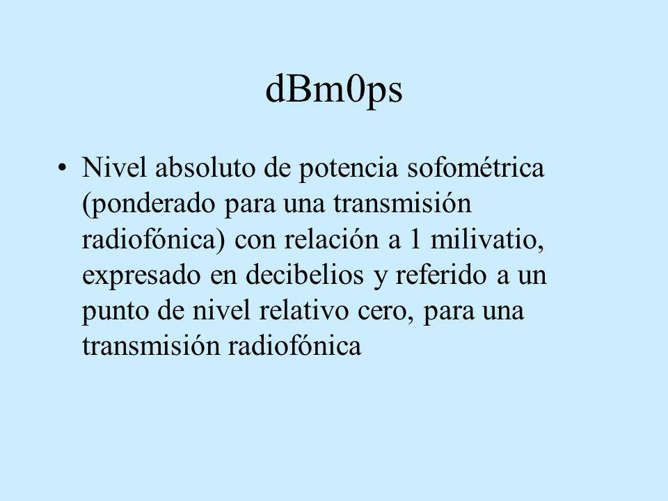dBm0ps Nivel absoluto de potencia sofométrica (ponderado para una transmisión radiofónica) con relación a 1 milivatio, expresado en decibelios y refer