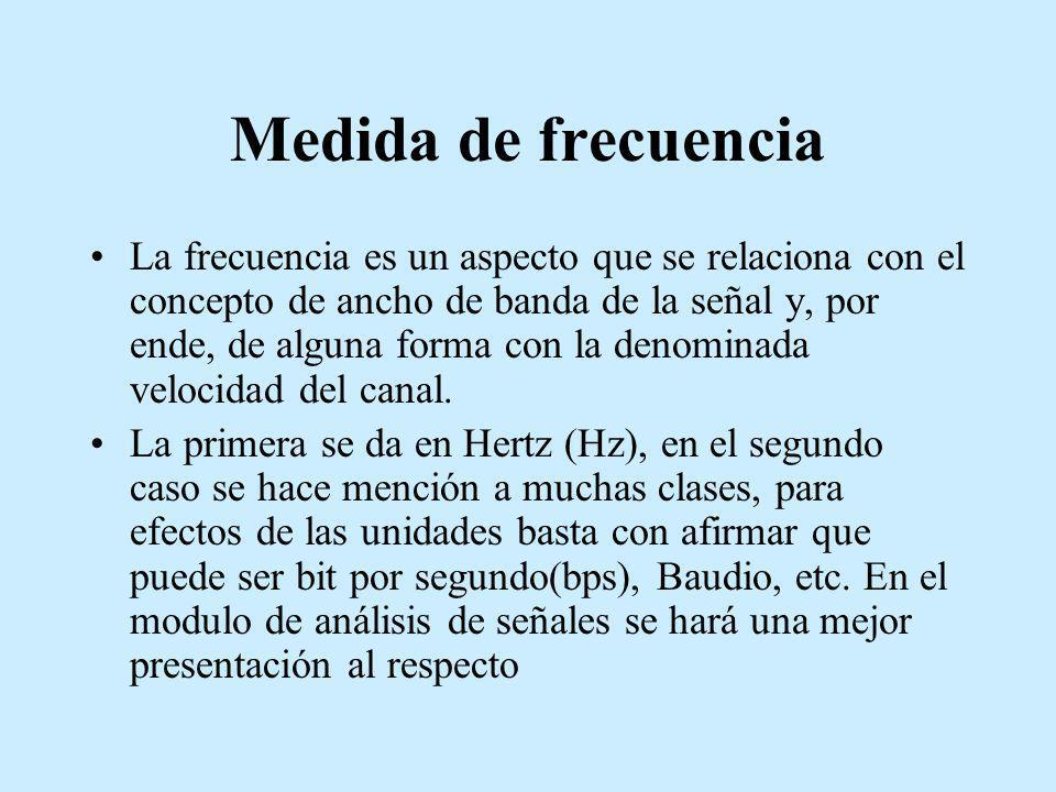 Medida de frecuencia La frecuencia es un aspecto que se relaciona con el concepto de ancho de banda de la señal y, por ende, de alguna forma con la de