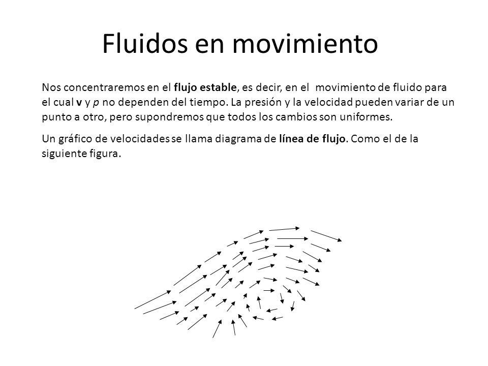 Fluidos en movimiento Nos concentraremos en el flujo estable, es decir, en el movimiento de fluido para el cual v y p no dependen del tiempo. La presi
