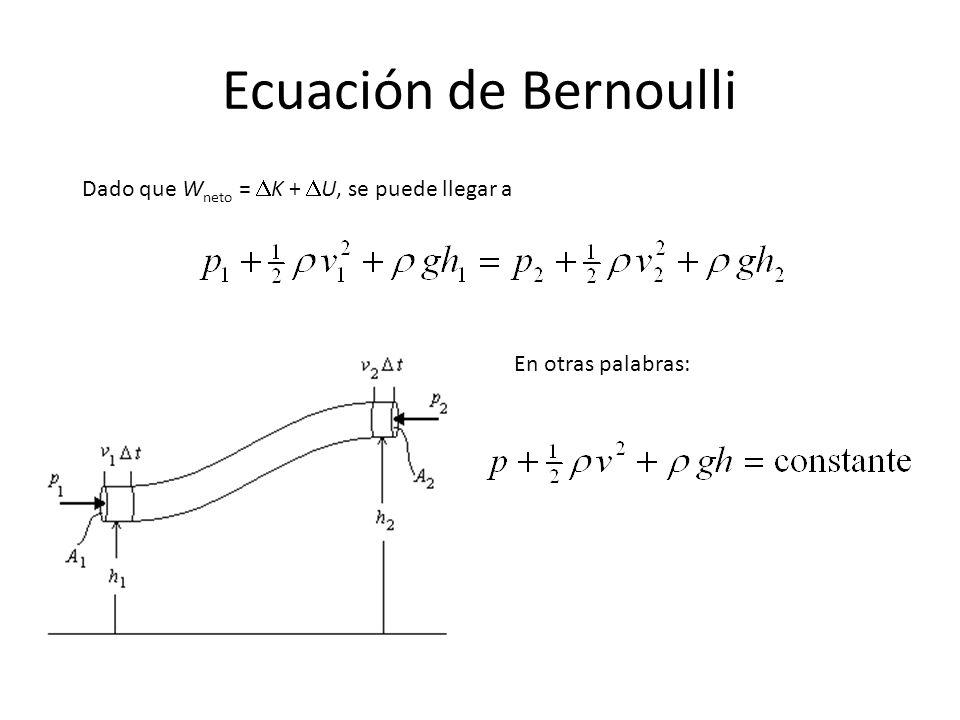 La ecuación de Bernoulli establece que la suma de la presión, (p), la energía cinética por unidad de volumen (1/2 v 2 ) y la energía potencial gravitacional por unidad de volumen ( gy) tiene el mismo valor en todos los puntos a lo largo de una líneas de corriente.