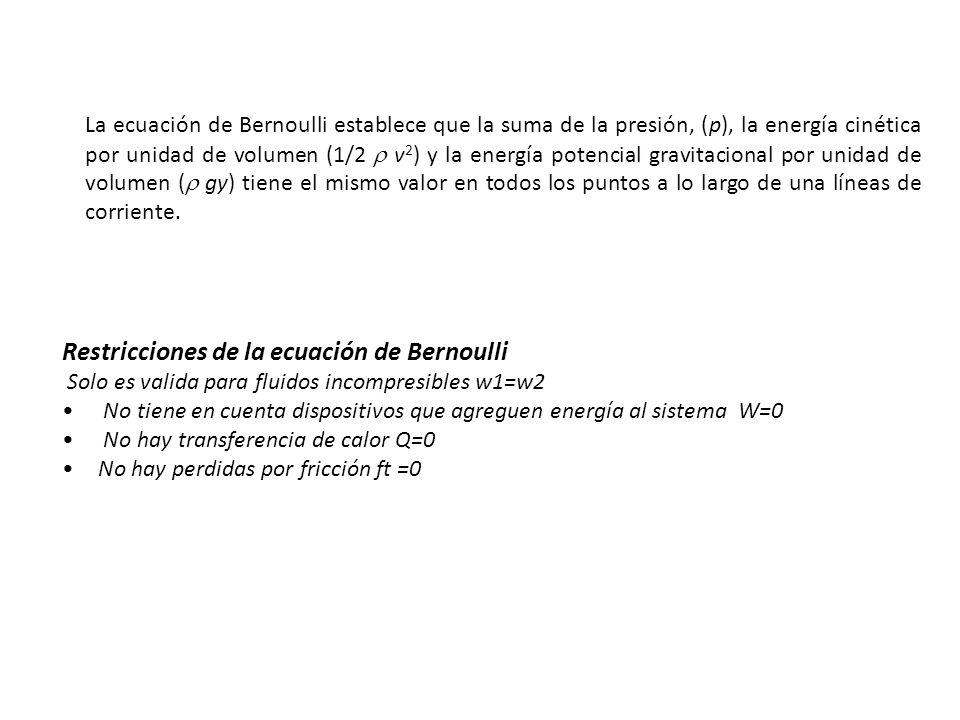 La ecuación de Bernoulli establece que la suma de la presión, (p), la energía cinética por unidad de volumen (1/2 v 2 ) y la energía potencial gravita